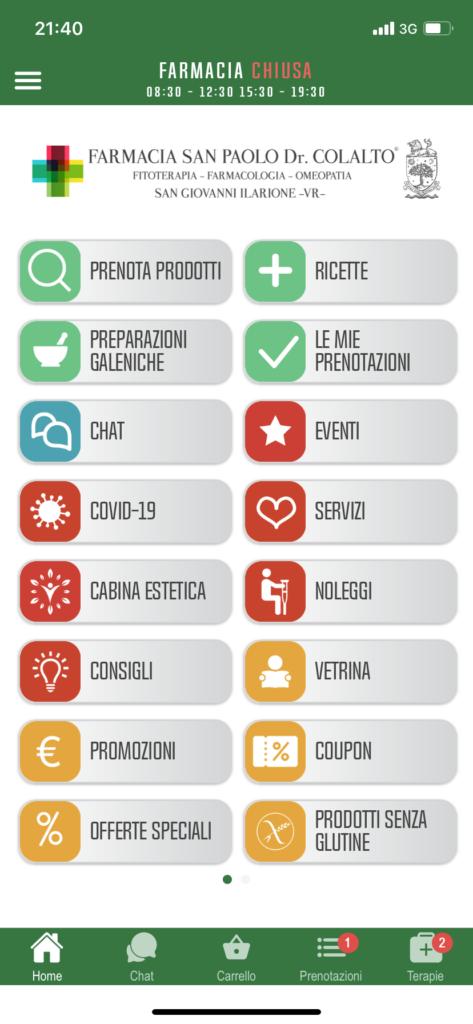 Screenshot app Farmacia Dr Colalto